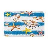 Acuarela Coral Caribbean Starfish on Red Arrecife Animal Acuario Antideslizante y Absorbente Alfombras para Cocina Piso Baño, Cuarto y Puerta Mat 40 x 60 cm