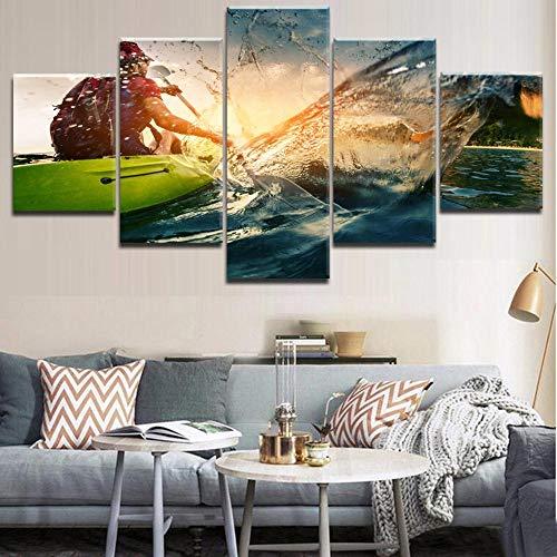Xzfddn Rahmen Leinwand Modern HD Druck 5 Stück Modular Mädchen Segeln, Kajak, Kanufahren Sport Poster Gemälde für Home Decor Wohnzimmer - 20 x 35/45/55 cm, mit Rahmen