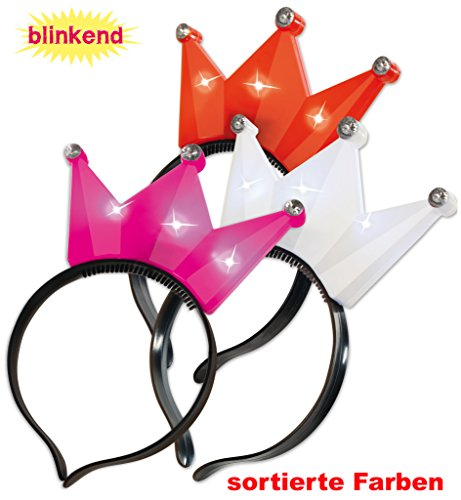 KarnevalsTeufel Haarreif Krone blinkend Prinzessin Königin Krönchen Blinkkrone Kopfschmuck Partyaccessoire (Pink)