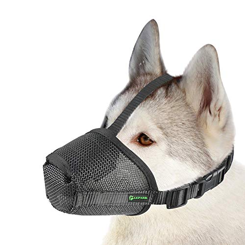 Lepark Mesh Dog Muzzle with Overhead Strap for Small, Medium and Large Dogs, Anti Biting, Barking and Chewing, Ajustable and Breathable (L, Black)