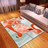 CGZLNL Alfombra de Suelo Flamenco Rosado Animal Home Alfombra Impreso Fácil de Limpiar Salón Comedor Dormitorio Alfombra de Suelo Tamaño: 60 x 90 cm