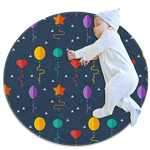 JHKHJ Alfombra para niños círculo, alfombra colchas, utilizado en la familia dormitorio sala de juegos decoración del suelo globo 70x70cm