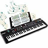 61 Keys Keyboard Piano, Electronic Digital Piano with Built-In Speaker Microphone, Sheet Stand and Power Supply, Portable Keyboard Gift Teaching for Beginners - Black