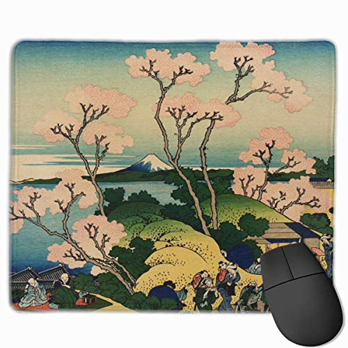 Hokusai Japan Ink Cherry Blossom Mount Fuji Neoprene Mouse Pad Office Space Decor Home Office Computer Accessories Mousepads 25 X30 cm