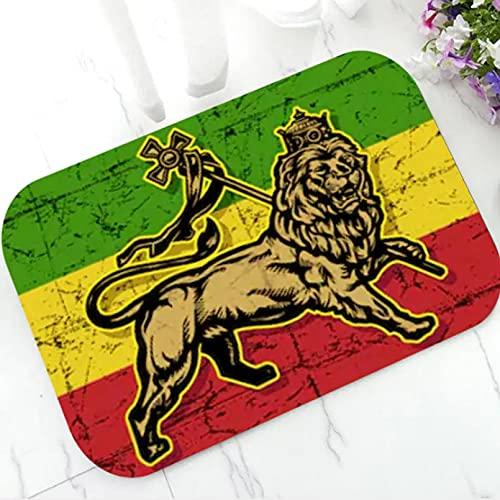 N/A Innen-Fußmatte Grunge Rasta Löwe von Juda Willkommen Türmatte Boden Fußmatte Teppich Teppich Jamaika Flagge Reggae Musik Home Decor Indoor Badewanne Geschenk-60X90CM