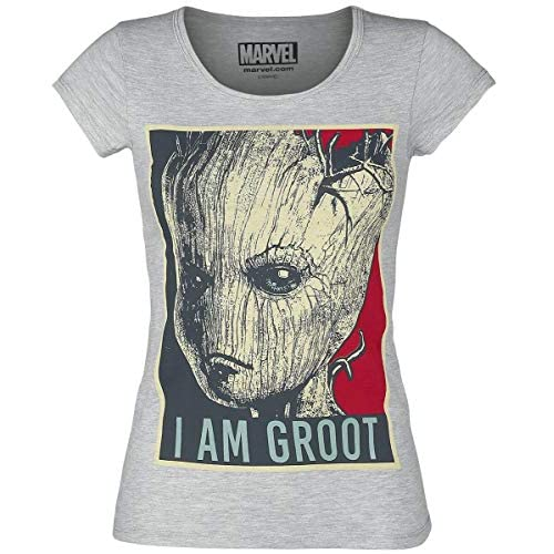 Maglietta delle Signore Guardians of The Galaxy I Am Groot Marvel Grey - S