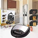 3 en 1 fabricante de gofres, sándwich eléctrico Tostadora de prensa Parrilla de recubrimiento antideslizante profundo Placas de recubrimiento de desayuno Máquina de muffin Control automático de temper
