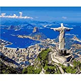 ZHONGYU Paint by Numbers Kits For Adults & Kids DIY Oil Painting Decorations Gifts - Jesus Statue of Rio De Janeiro, Brazil Best Gift For Children(40 * 50CM)