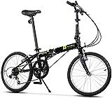 Aoyo Falträder, Erwachsene 20' 6 Geschwindigkeit Variable Geschwindigkeit Klapprad, Verstellbarer Sitz, leichte, tragbare Folding Stadt-Fahrrad, Weiß, Farbe: Schwarz (Color : Black)