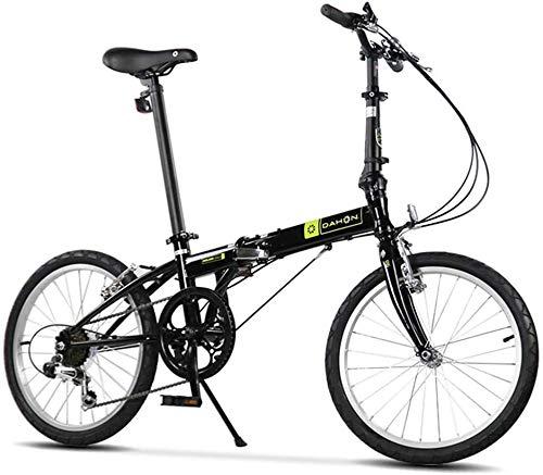 """Aoyo Falträder, Erwachsene 20\"""" 6 Geschwindigkeit Variable Geschwindigkeit Klapprad, Verstellbarer Sitz, leichte, tragbare Folding Stadt-Fahrrad, (Color : Black)"""