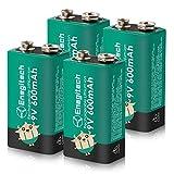 Enegitech 9V Block Akku Li-ion 600mAh Hochleistungs Wiederaufladbare Rauchmelderbatterien für