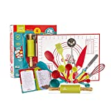 Baketivity 31 Piece Kids Cooking and Baking Set with Recipe Cooking Cards. Kids Cooking Set with Real Baking Tools for Kids Ages 6 and Up - Ultimate Baking Gift for Girls, Boys, Toddlers, Junior Chefs