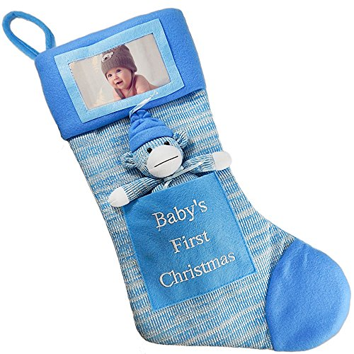 Babys First Christmas Stocking; Baby Boy Stocking with Removable Soft Toy; with Picture Frame - Personalize it with Babys Picture! (Blue)
