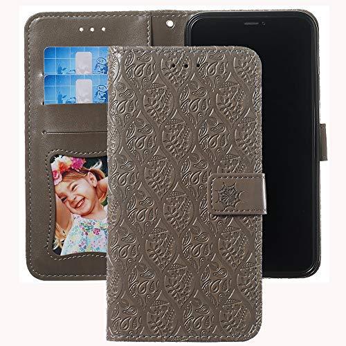 Capa carteira XYX para Xperia XA1 Ultra, Capa para Xperia XA1 Ultra, [Flor de ratã 3D] Capa de couro PU com fecho magnético de suporte, capa protetora para Sony Xperia XA1 Ultra (cinza)