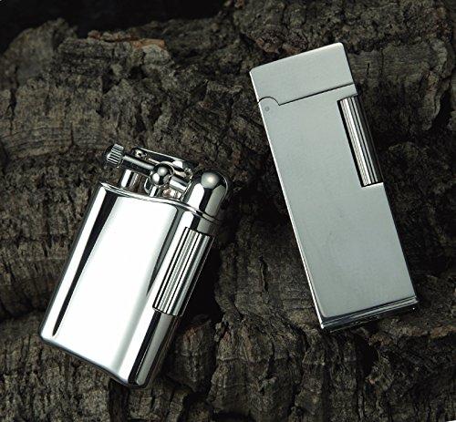 Sarome Flint Lighter SD9-25 Silver 2-side vertical dome diamond cut