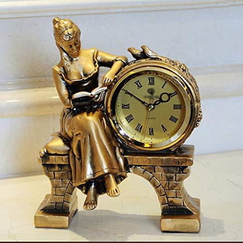 GZQDX Caliente Nordic Vintage Resina Mesa Reloj de Decoración Inicio Estado Sala de Estar Habitación Oficina Oficina Desktop Reloj Retro Escritorio Reloj Regalo