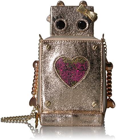 BETSEY JOHNSON SILVER-TONE BLUE//PINK STRIPED PEN GIRL ROBOT W//HEART CHARM NIB