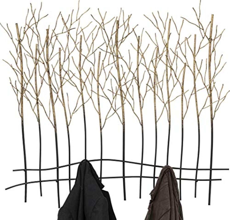 Kare Design Wandgarderobe Bush, Garderobenhaken, Wandhaken, Garderobenleiste, Garderobenpaneel, Gold-Schwarz (H B T) 82,5x89x9cm