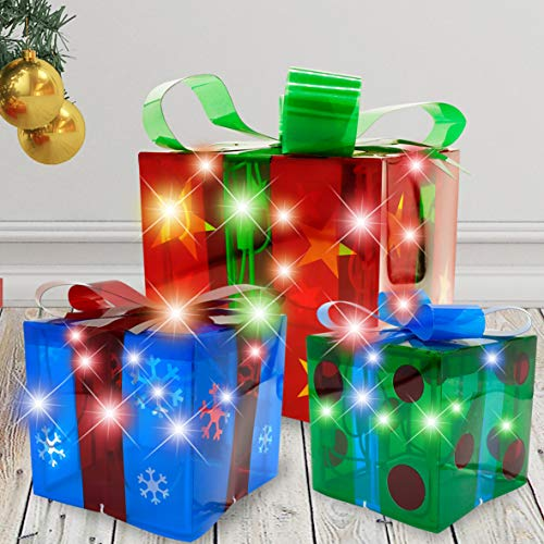 Joiedomi Christmas Light Boxes Décor Set of 3 Christmas Lighted Gift Boxes Decorations Outdoor Indoor and Christmas Tree Decorations