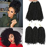 Paquete de 3 extensiones de pelo rizado de 20 cm con diseño de goma, color negro,...