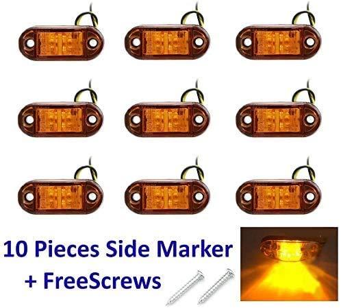 Seitenmarkierungsleuchte, 10PCS 2 LED-Seitenlichtanzeige Auto Auto LKW-Anhänger Wohnwagen Seitenmarkierungsleuchte 12V 24V für LKW-Anhänger Van Caravan (Gelb)