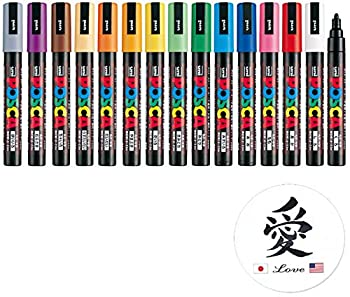 Uni Paint Marker Poster Color 15 Marking Pen Medium Point PC-5M Standard Color Set With Kanji LOVE Sticker