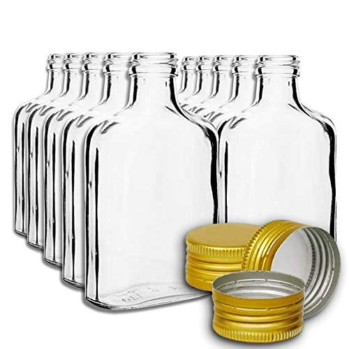 10botellas de bolsillo de 200 ml con tapas doradas de rosca, para vino, whisky o licores