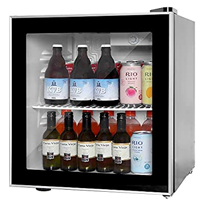 Mini Fridge Cooler - 60 Can Beverage Refrigerator Drink Freezer for Beer Soda or Wine - Glass Door Small Drink Dispenser Machine Clear Front Removable for Home, Office or Bar, 1.6cu.ft.