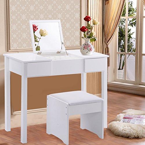 COSTWAY Schminktisch Frisiertisch Frisierkommode Kosmetiktisch mit Klappspiegel und Schubladen inkl. Hocker Farbwahl (Weiß)