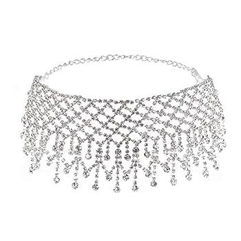 Luxury Rhinestones Tassel Wide Choker Crystal Necklace for Women Girls  Silver