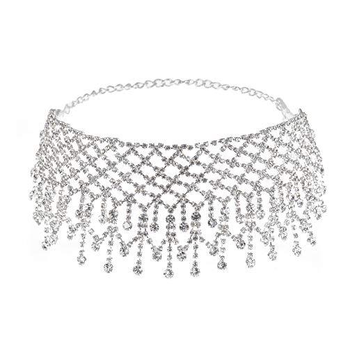 Luxury Rhinestones Tassel Wide Choker, Crystal Necklace for Women Girls (Silver)