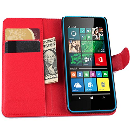 Ycloud Tasche für Microsoft Lumia 640 Dual-SIM Hülle, PU Ledertasche Flip Cover Wallet Hülle Handyhülle mit Stand Function Credit Card Slots Bookstyle Purse Design rote