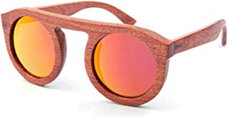 LUKEEXIN Cute Brown Color Women's Wooden Sunglasses Round Handmade Polarized TAC Lens UV Protection Personality Driving Vacation Fishing Beach Outdoor Sunglasses (Color : Red)