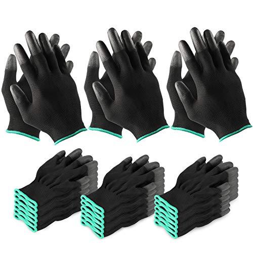 Garten Arbeitshandschuhe für Frauen und Männer, 12 Paar Finger Gummibeschichtung Nylon Gartenhandschuhe Outdoor-Arbeit Schutz atmungsaktive elastische Handschuhe mittlerer Größe (schwarz)