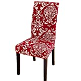 Printed Dining Chair Slipcovers, Removable Washable Soft Spandex Stretch Chair Covers Banquet Chair Seat Protector Slipcover for Kitchen Home Hotel (Set of 4, Red)