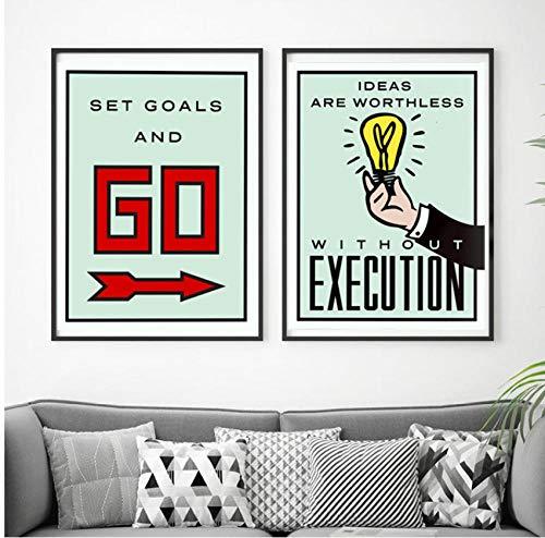 Art Canvas schilderij bordspel kaart poster en print minimalistische moderne muur foto's voor kantoor kamer Home Decor 50x70cmx2pcs frameloze