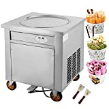 Forkwin Fried Ice Cream Machine 19.7inch Commercial Roll Maker Stainless Steel for Restaurant Snack Bar