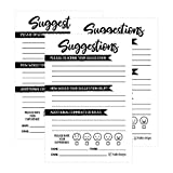 25 4x6 Feedback Comment Suggestion Card Forms for Customer Complaints, Business Employees,...