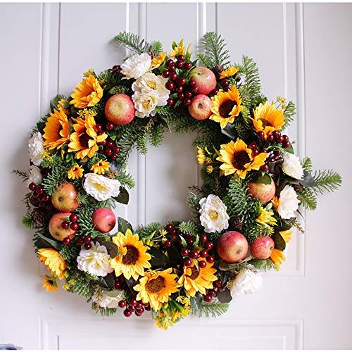 NQXXN Krans voor Voordeur, 20 Inch Kunstmatige Herfstkrans, Gele Zonnebloem En Fruitkrans, voor Voordeur Wanddecoratie