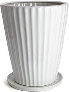 鉢 KANEYOSHI 陶器 12号 36cm 植木鉢 白 【受皿付き】