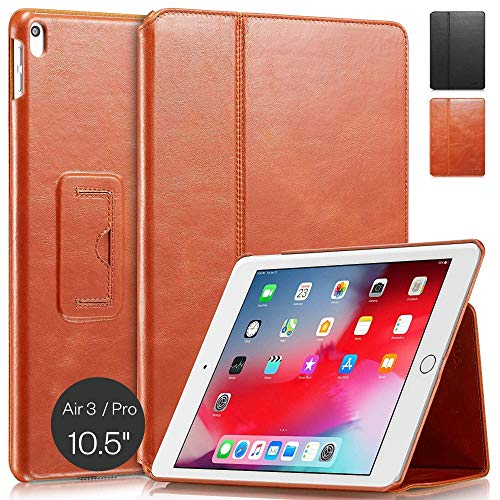 KAVAJ Case Leather Cover'Berlin' works with Apple iPad Air 3 2019 & iPad Pro 10.5' Cognac-Brown Genuine Cowhide Leather with Built-in Stand Auto Wake/Sleep Function. Slim Fit Smart Folio Covers