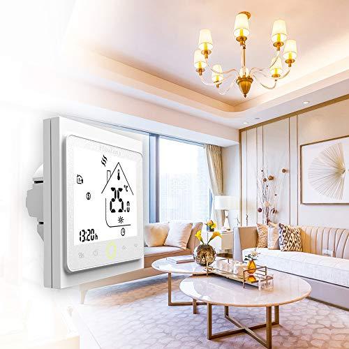 Termostato WiFi per Caldaia a Gas/Acqua,Termostato intelligente Schermo LCD(TN schermo) Touch Button Retroilluminato Programmabile con Alexa ecc e Telefono APP-Bianco