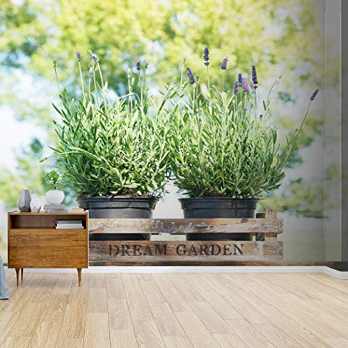 lavender in old wooden box on table over nature background blooming Canvas Print Wallpaper Wall Mural Self Adhesive Peel & Stick Wallpaper Home Craft Wall Decal Wall Poster Sticker for Living Room