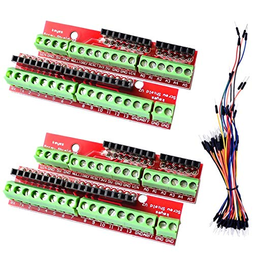 DAOKI 2Pcs Screw Shield V2 Expansion Board Terminal Compatible with Arduino UNO R3 with Dupont Cable Female to Male