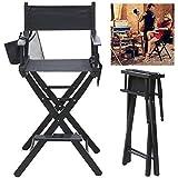 SOULONG - Silla de director plegable, silla de director de escena, de madera, color negro, silla de maquillaje profesional portátil con portabotellas y bolsillos de almacenamiento