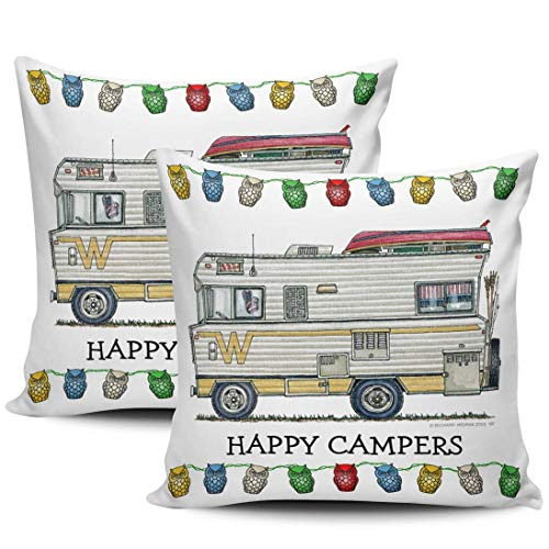 GodYo verpakking met 1 sofakussenovertrekken Happy cam-per Colourful Cute Uwl Hidden rits kussensloop vierkante kussenslopen