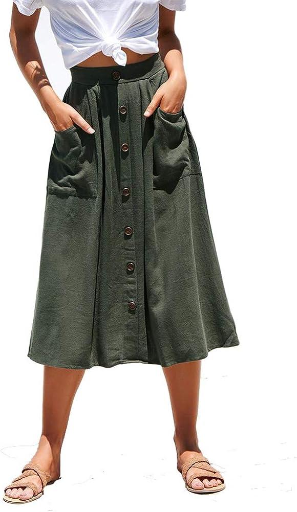 Katblink Women's Spring Solid High Waist Beach Loose Fit Casual Skirt Green S