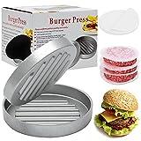 Prensa para hamburguesas de aluminio fundido con 100 hojas de papel antiadherente, tamaño XXL hierro fundido, juego de prensa para hamburguesas, barbacoa, apto para lavavajillas, diámetro de 12 cm
