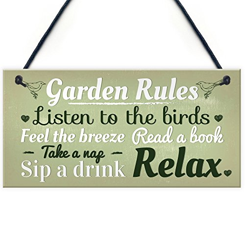 RED OCEAN Garden Rules Novelty Hanging Plaque Summer House Sign Garden Shed Friendship Gift