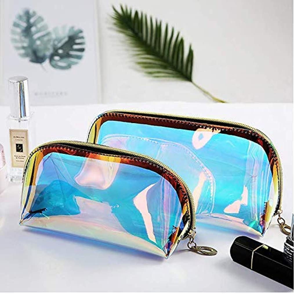 道徳フォアタイプモバイルYiTongの2つのホログラフィックメイクアップバッグ虹色の化粧品ケースホログラムクラッチトイレタリーポーチハンディオーガナイザー透明な女性のイブニングバッグ(大小)